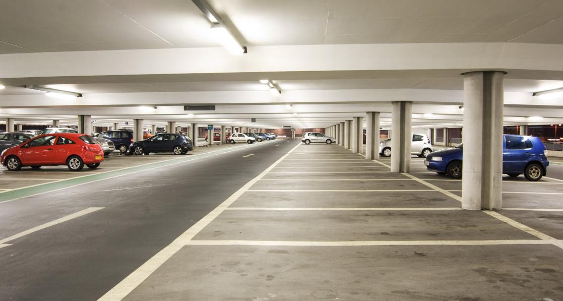 Typical parking garage above ground